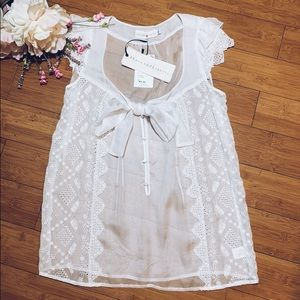 4Love & Liberty JOHNNY WAS NWT Silk Eyelet Tie Top
